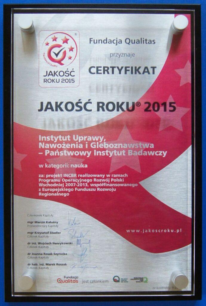Certyfikat Jakości Roku 2015 dla IUNG-PIB