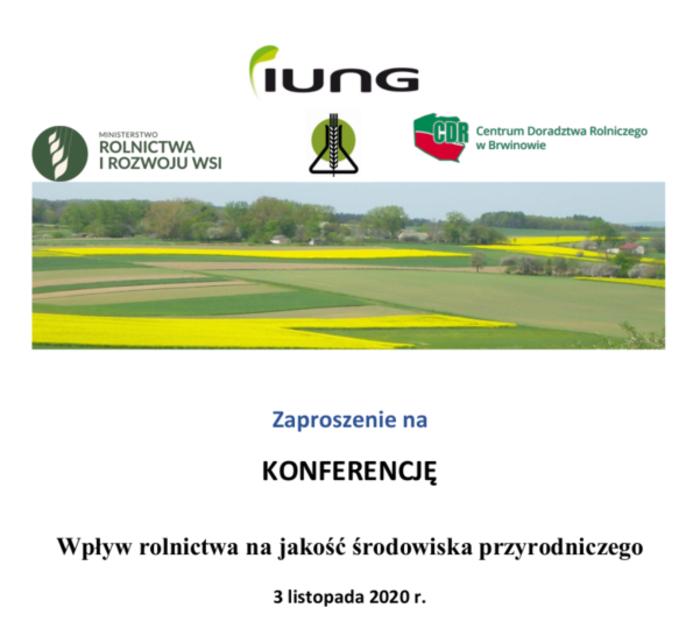 """Transmisja konferencji: """"Wpływ rolnictwa na jakość środowiska przyrodniczego"""" na kanale YouTube"""